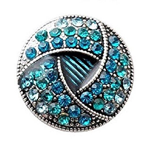 Blue Rhinestone Antique Silver Snap Charm