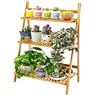 Jardinera con forma de escalera para plantas, macetas y flores, de tres niveles, de estilo Shabby Chic, de color blanco: Amazon.es: Hogar