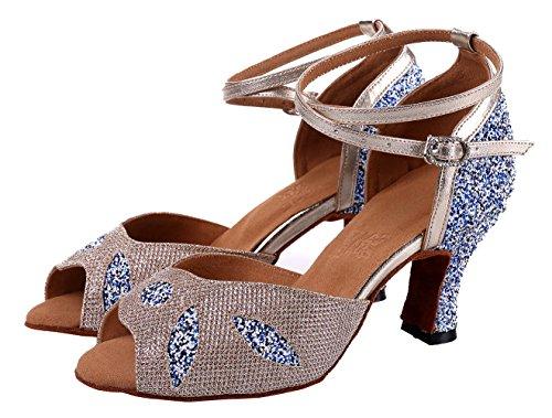 Honeystore Frauens Blatt Funkelnde Glitzer Heels Sandalen Latin mit Knöchelriemen Tanzschuhe Champagner und Blau