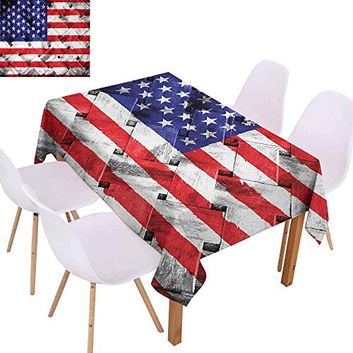 (UHOO2018 USA,Rectangle Tablecloth,Fourth of July Independence Day Thatch Rattan Rippled Weave Bamboo Graphic Art,Great for Buffet Table, Parties,Navy Blue Red)