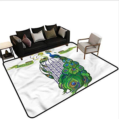 Peacock,Kids Bedroom Mats Decorative 24