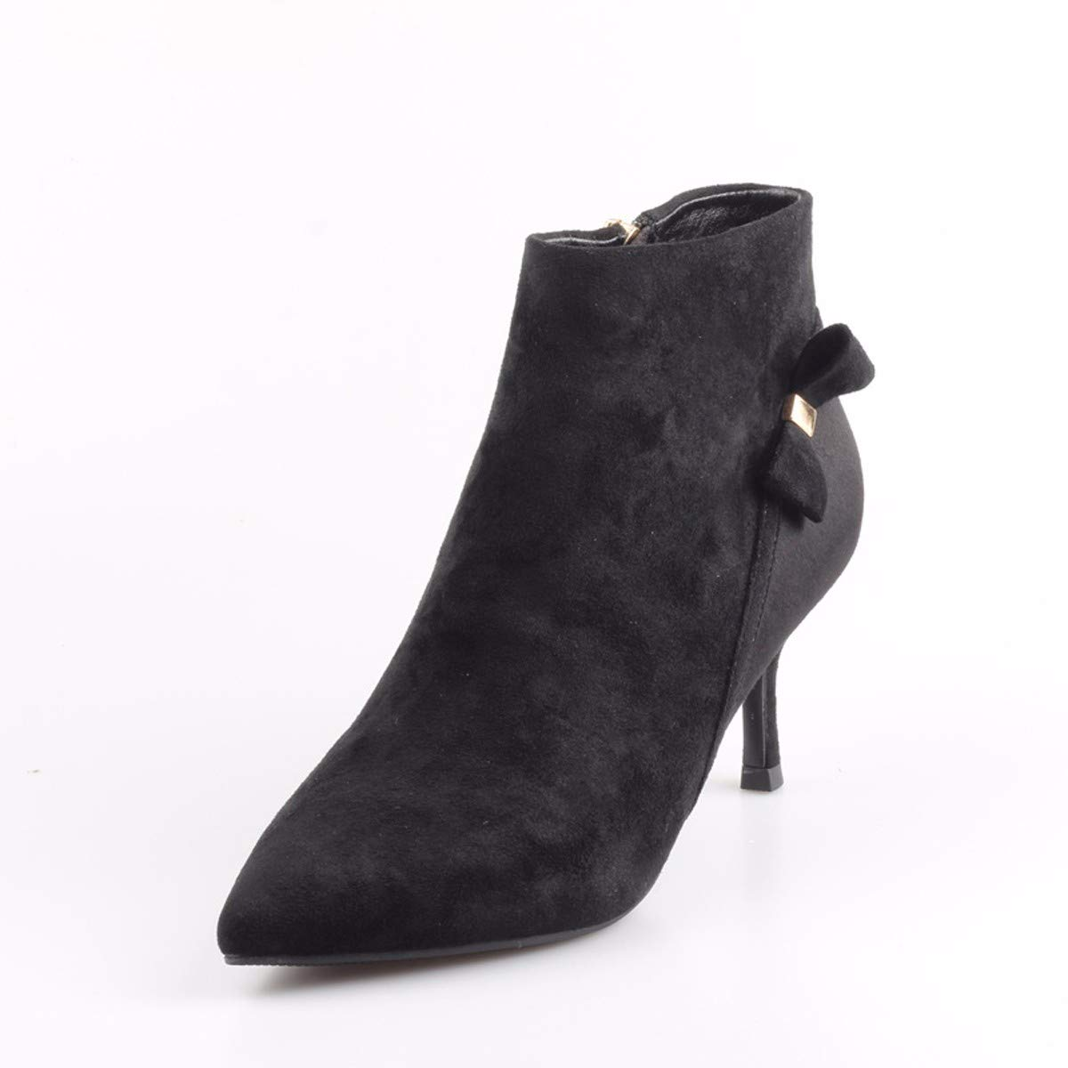 KPHY Damenschuhe Kurze Kurze Kurze Stiefel Mit Hohen 6 cm Dünne Sohle Single - Stiefel Wies Kopf Nahe Bei Seite Reißverschluss Mode Fliege Martin Stiefel. 5ecd01