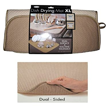 The OriginalTM Dish Drying Mat XL Microfiber, Absorbent, Machine Washable, Fast Drying 18 X24  DUAL SURFACE (TAN)