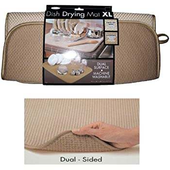 """The Original™ Dish Drying Mat XL Microfiber, Absorbent, Machine Washable, Fast Drying 18""""X24"""" DUAL SURFACE (BLACK)"""