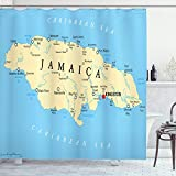 Ambesonne Jamaican Shower Curtain, Map of Jamaica Kingston Caribbean Sea Important Locations in Country, Cloth Fabric Bathroom Decor Set with Hooks, 70' Long, Pale Blue Beige Black