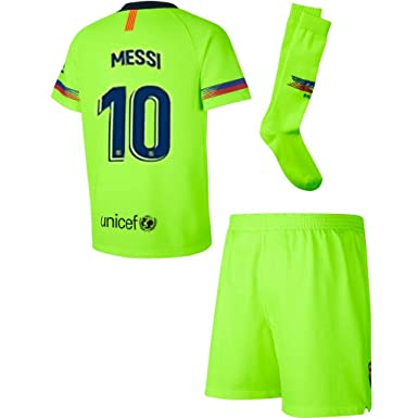 size 40 1cda1 5522f 2018-2019 Barcelona Messi 10 Away Kids/Youths Soccer Jersey Shorts Socks  Color Green Size 24 9-10 Years Old