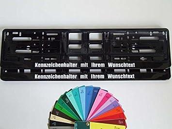 2 Stück Kennzeichenhalter Schwarz Hochglanz Mit Wunschtext Beschriftung Werbung Auto