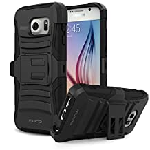 Galaxy S6 Case, MoKo Shock Absorbing Hard Cover Ultra Protective Heavy Duty Case with Holster Belt Clip + Built-in Kickstand for Samsung Galaxy S6 5.1 Inch (2015) - Black
