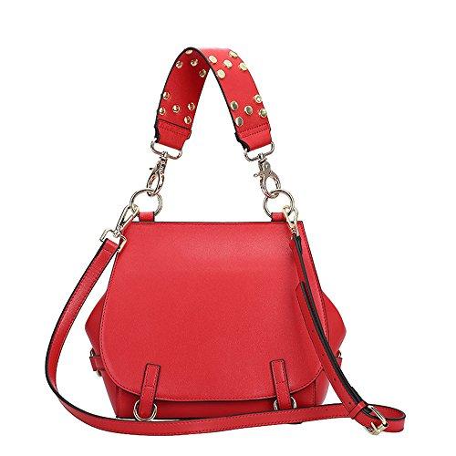 Sheli Bolso Bandolera Mujeres Cuero Bolsos Hombro Tote Bolsas de Moda Cartera para Damas Gran Capacidad Rojo