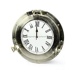 Nagina International Brushed Nickel Aluminum Metal Roman Porthole Clock | Nautical Navy Decor Gifts (12 Inches)