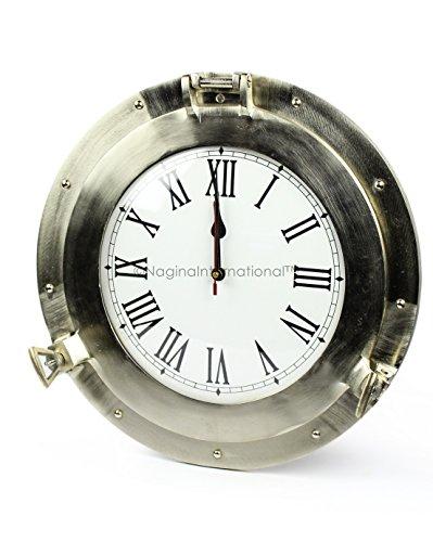 Pirates Metal Clock - Nagina International Brushed Nickel Aluminum Metal Roman Porthole Clock | Nautical Navy Decor Gifts (12 Inches)