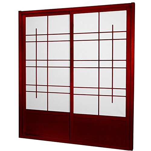 ORIENTAL FURNITURE 7 ft. Tall Eudes Shoji Sliding Door Kit (Double - Sided) - Rosewood