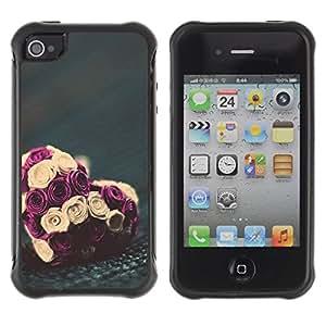 LASTONE PHONE CASE / Suave Silicona Caso Carcasa de Caucho Funda para Apple Iphone 4 / 4S / rose love valentines bouquet floral