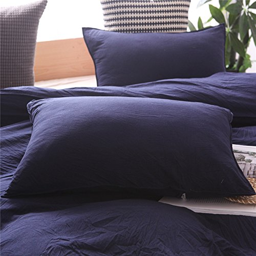 Heaven Home textile100% Washed Cotton Duvet Cover Soft and Comfortable Bedding 2-Pieces (Navy Twin) by Heaven home textile (Image #2)
