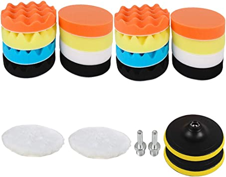 22pcs//Set 3inch//80mm Car Foam Drill Polishing Pad Kit High-Quality Buffing Pads
