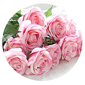 8pcs/11pcs Real Touch Latex Artificial Flowers Wedding Bridal Bouquet Fake Flowers Floral Wedding Party Decorative Flowers,Light Pink style1,11pcs 61