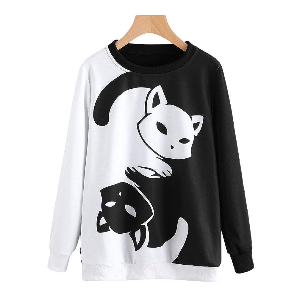 Women's Sweatshirts TUDUZ Womens Autumn Cat Printing Long Sleeve Sweatshirt Casual Pullover Tops Blouse
