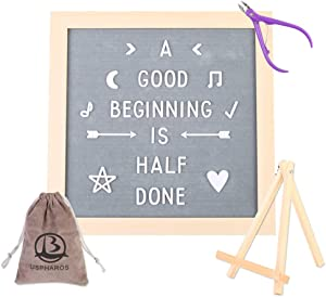USPHAROS Gray Felt Letter Board 12x12 inch Changeable Letter Board Industrial with MDF Wood Frame Include 618 White Letters Additional Symbols & Emojis, Letter Bag, Scissors, Stand. …