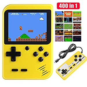 Diswoe Handheld Games Console, Portable Retro Game Player With 400 Classical FC Games 2.8-Inch Color Screen Handheld Gameboy Support TV Two Players 800mAh Rechargeable Battery Gift for Kids and Adult
