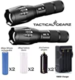 TacticalGearz 2 Pack LED Flashlight Bundle! Military High-Grade Aluminum! Super Bright 1000 Lumens T6 LED! Waterproof! Zoomable! 5 Power modes! 18650 Rechargeable Battery Kit!