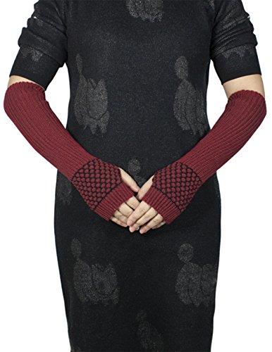 Dahlia Women's Honeycomb Pattern Acrylic Fingerless Arm Warmer Gloves - Red by Dahlia (Image #1)