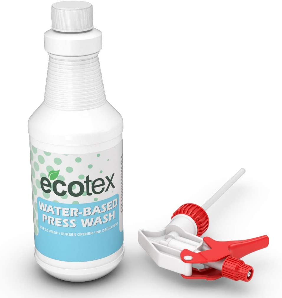 Ecotex Water-Based Press WASH - Eco-Friendly On Press & in Sink Press Wash/Screen Wash/Screen Opener/Ink Degradent - (Quart)