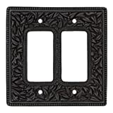 Vicenza Designs WPJ7005 San Michele Wall Plate with Jumbo Double Dimmer Opening, Oil-Rubbed Bronze