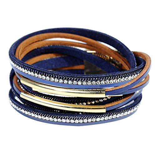 Leather Bangle Blue - Leather Cuff Bracelet for Women - Boho Beads Wrap Clasp Bangle Bracelet Leather Wristbands Birthday Gifts for Women(Blue with Gold bar)