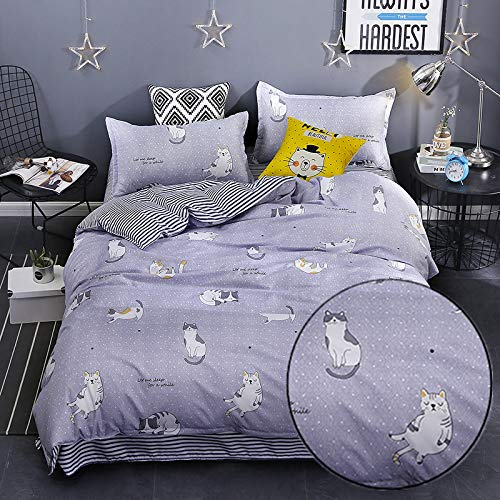 (KFZ Lucky Cat Print Grey Duvet Cover Twin Set [3pcs Kids Twin Bedding Sets with 66