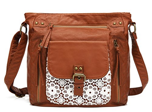 Scarleton Medium Lace Crossbody Shoulder Bag for Women, Ultra Soft Washed Vegan Leather, Brown, H200504