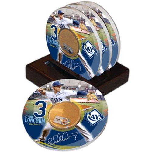 (MLB Tampa Bay Rays Game Used Dirt Coasters (set of 4) - Evan Longoria)
