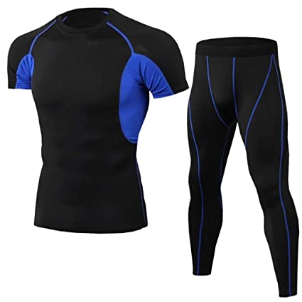 2Pcs Men Tracksuit Elastic Casual Fitness T-Shirt Fast Drying Tops Pants Sports Tight Suit