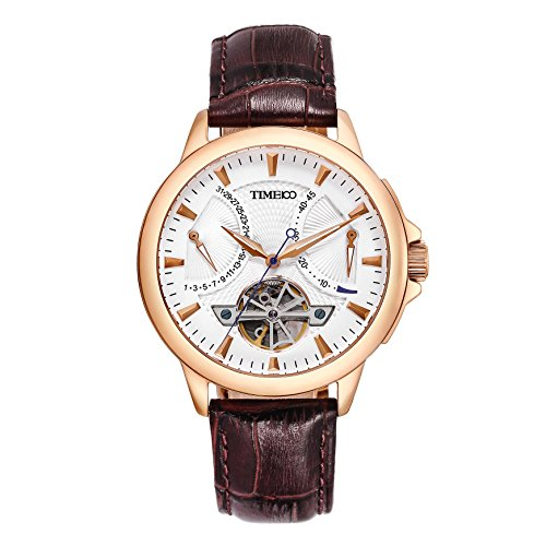 Time100 Men's Navigator-Series Tourbillon-Style Mechanical Brown Strap Watch W70035G.02A