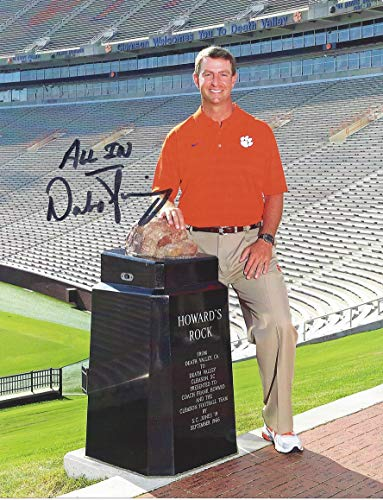 AUTOGRAPHED Dabo Swinney (Clemson Tigers Head Coach) DEATH VALLEY STADIUM/HOWARDS ROCK Signed & Inscribed Collectible 9X11 Inch NCAA College Football Glossy Photo with COA