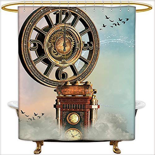 Square Clock Sydney (Qinyan-Home Design Shower Curtain Magical Enchanted Landscape Big Antique Clock Flying Birds Fairytale for Light Blue Brown Pink. Shower Water-Repellent,Washable.W72 x H78 Inch)