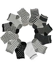 12 pares de calcetines para bebé, antideslizantes Stretch de punto tobillo de algodón Grip Walkers calcetines para 12-36 meses bebés niños niñas