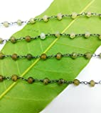 Found Sell on 10 ft. Natural Grossular garnet Rosary Chain 4 mm Faceted Black Plated Wire Warpped Rosary Chain By GEM MART U.S.A.