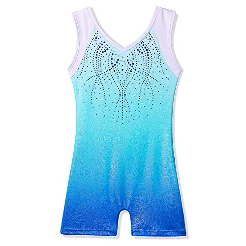 BAOHULU Leotard for Girls Gymnastics Toddler Sparkle Stripes Tank Biketards One Piece B154_GradientBlue_110 Gradient Blue