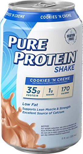 Pure Protein Shakes, Ready to Drink and Convenient for Meal Replacement, Low Carb, Gluten Free, Cookies N' Cream, 11 oz, 12 Count