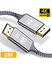 DisplayPort Cable 2M, Snowkids 4K Displayport to Displayport Cable(4K@60Hz, 1440p@144Hz) Nylon Braided High Speed DP Code, 4K VideoResolution Ready for TV Gaming Streaming PC Monitor,Laptop -1 Pack