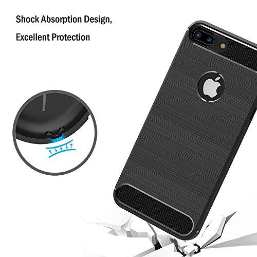 Funda iPhone 7 Plus / 8 Plus, iVoler Negro Súper TPU Silicona Carcasa Fundas Protectora con Shock- Absorción y Diseño de Fibra de Carbon Para iPhone 7 Plus / 8 Plus