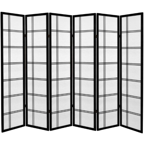 Oriental Furniture 6 ft. Tall Canvas Double Cross Room Divider - Black - 6 Panels (Panel Shoji 6)
