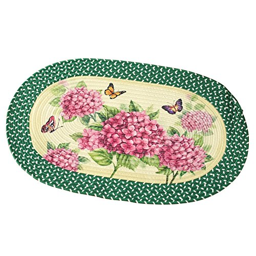 Collections Etc Hydrangea Bloom Braided Accent Rug