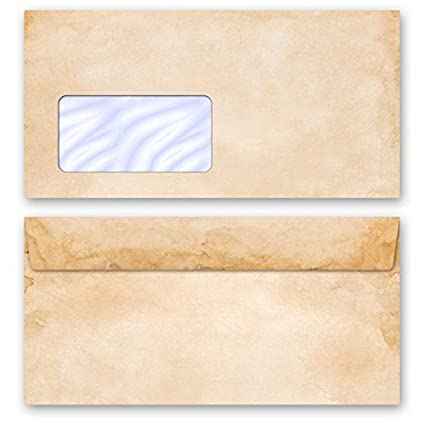 Buste da lettera decorate VINTAGE con strisce adesive 110x220 mm 10 DIN LANG autoadesive buste senza finestra
