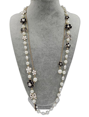 lry Faux Imitation Pearl Black Bowknot Charm Necklace (Chanel Inspired Necklaces)