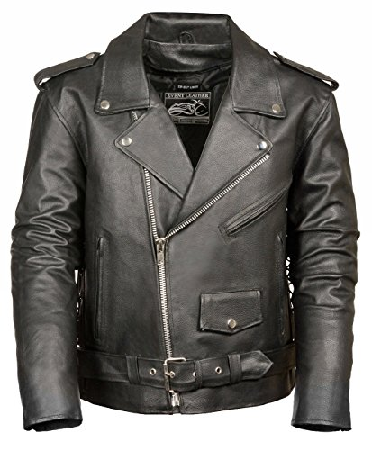 Mens Classic Leather Side Lace Motorcycle Jacket
