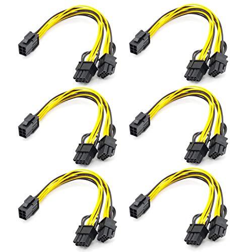 Gaddrt PCI-E 6-pin /à 2 x 6 c/âble r/épartiteur dalimentation PCIe PCI Express -pin 6-pin//8-pin