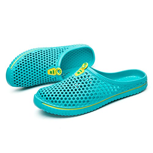 DoGeek Women Men Slippers Breathable Mesh Net Mules Clogs Slip On Casual Flip Flops Garden Shoes Hollow Sandals for Outdoor & Indoor Green Mw2wd
