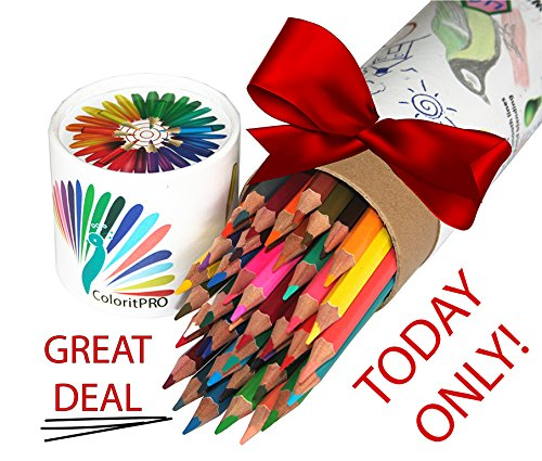 ColoritPRO Best Colored Pencils To Calm You Down Immediately, Full Rainbow & Named Drawings! Presharpened Colorful Leads In This No Brush Needed Watercolor Set! Gift Travel Case & Sturdy Storage!
