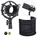 Microphone Shock Mount with Pop Filter, LANIAKEA Metal Construction Microphone Anti-Vibration Suspension Shock Mount Holder Clip for Diameter 43mm-55mm Microphone